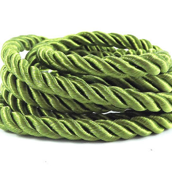 Meadow Green 5mm Twisted Rayon Satin Rope Silk Braid Cord - 3 Ply Twist - 1 meters - 1.09 Yards - No:17