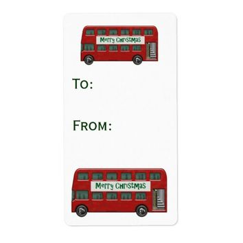 Red Double-Decker Bus Merry Christmas Gift Label