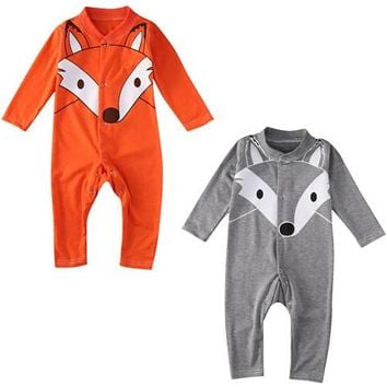Lovely Newborn Baby Girls Boy Fox Romper Long Sleeve Outfits Clothes