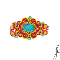 Unique, rainbow, soutache bracelet with turquoise, agates, crystals