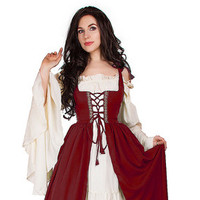Renaissance Medieval Irish Costume Black  Over Dress Fitted Bodice 2XL/3XL