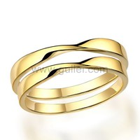 Gold Plated Silver Matching Unisex Engraved Couples Rings