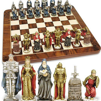 King Arthur Knights Wizard Sword in Stone Chess Set 3.75H