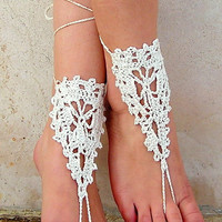 Barefoot Sandals, ivory Nude shoes, Foot jewelry, Wedding, Victorian Lace, Sexy, Yoga, Anklet , Bellydance, Steampunk, Beach Pool