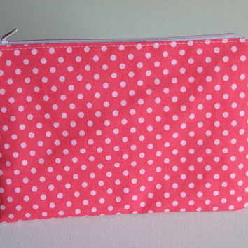Zipper Pouch, Pink Polka Dots, Organizer, Kids, Travel, Spring Gift, Pencil Case,