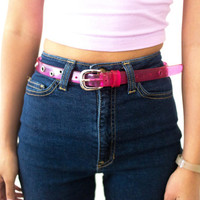 vtg 80s 90s pastel pink plastic belt, vintage studded, 1990s girls kawaii, urban outfitters tumblr fashion, vaporwave aesthetic soft grunge
