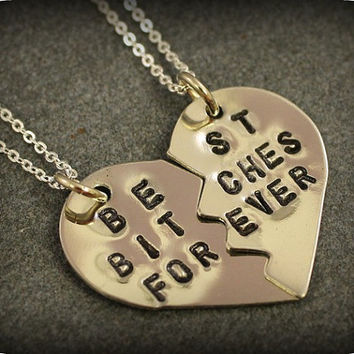 Best Bitches Forever Necklaces - Best Friend Jewelry - Best Bitches Necklaces - BFF Jewelry - Nickel Silver