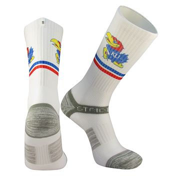 Strideline® Kansas Rock Chalk Jayhawks White Crew Sock