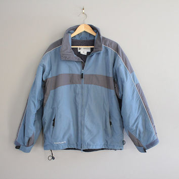 Columbia Jacket Grey Blue Ski Coat Vintage Fleece Lining Convert Parka Ski Hiking Mountain Outdoors Winter 90s Size Large