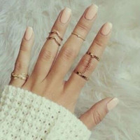 6Pcs/Set Charming Women Leaf Rings Female Gold Silver Stack Plain Band Midi Mid Finger Knuckle Rings Set For Women Anel Jewelry