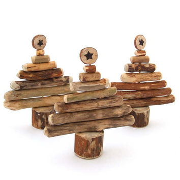 Rustic Christmas Decor Driftwood Christmas Tree Wood Christmas Decoration set of 3
