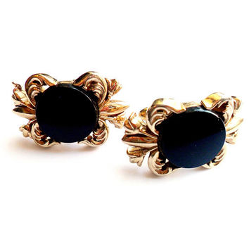 Vintage Black Glass Swank Cuff Links Gold Tone Flourish Fleur De Lis Heraldic Signed Marked Formal Wedding Groom Prom Father of Bride Gift