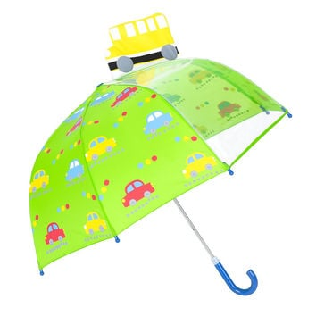 Rainbrace Umbrella Kids Fashion Childrens Dome Rain Umbrella 37-Inch for Boys and Girls with Clear Window Panel Bus and Car-Green