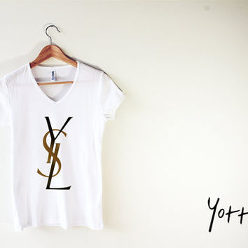 Women V-neck Tee - The First YSL logo
