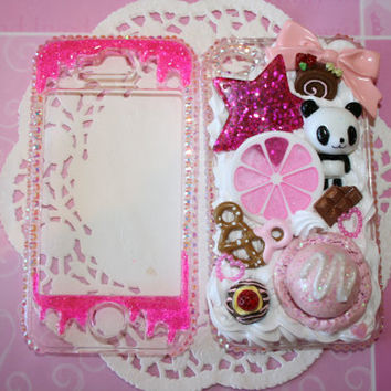 Kawaii pink decoden panda and sweets iphone 4 / 4s case