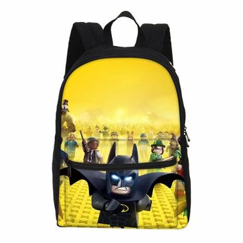 Girls bookbag VEEVANV Lego Printing Children Cartoon Backpacks Canvas Girls School Bookbags Boys Cute Batman Ninjago Laptop Shoulder Bags Kids AT_52_3