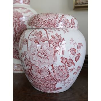 Ginger Jar / Cookie Jar / Biscuit Barrel Clarice Cliff signed Vintage Red Transferware Charlotte Roses
