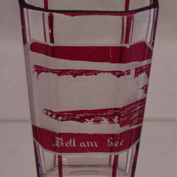 910658 Ruby Flashed Over Crystal Glass With 8 Long Flat Cut Sides On Oval Beaker, Rectangle Panel Of Engraved Building, Ruby Flashed Lines Between Sides
