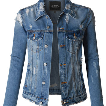 LE3NO Womens Vintage Washed Long Sleeve Ripped Distressed Denim Jacket