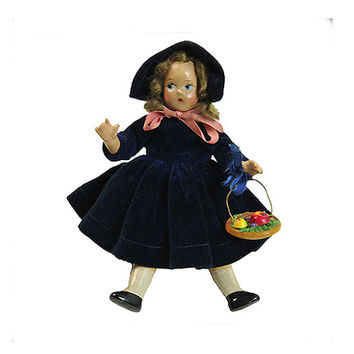 Madame Alexander Tiny Betty Composition Doll of the Month Vintage Jointed Hip Shoulder  Vintage November Birthday Doll Blue Velvet