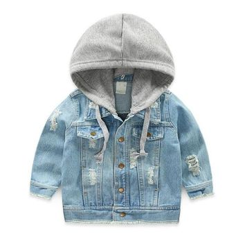 LILIGIRL Vintage Girls Casual Jeans Jacket for Baby Boys Hooded Denim Clothes Coats Outwear Kids Autumn Tops Coat Jackets