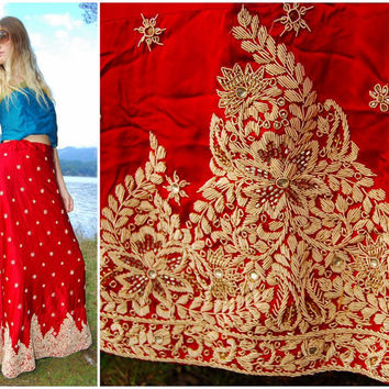 Vintage Indian Wedding Lehenga - Adjustable size - Embroidered Red Silk Maxi Skirt, Bollywood Saree, Bohemian Gypsy skirt, Festival clothing