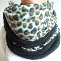 Fleece Infinity Scarf, Leopard Scarf, Black & Brown Animal Print, Big Chunky Scarf, Oversized Winter Scarf, Back to School, Womens, Gift