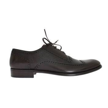 Dolce & Gabbana Brown Leather Wingtip Formal Shoes