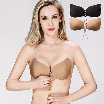 2017 Fly bra  Invisible Bra Seamless Adhesive Bra Silicone  Backless Wedding Strapless thin cup Push up Bra Women Underwear