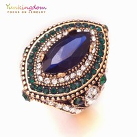 Vintage ethnic big ring luxury blue green crystal rhinestone ancient Silver jewelry rings for women LPK1894
