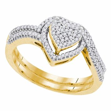 10kt Yellow Gold Womens Round Diamond Heart Cluster Bridal Wedding Engagement Ring Band Set 1/3 Cttw