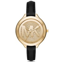 Slim Runway Pavé Gold-Tone and Leather Watch | Michael Kors