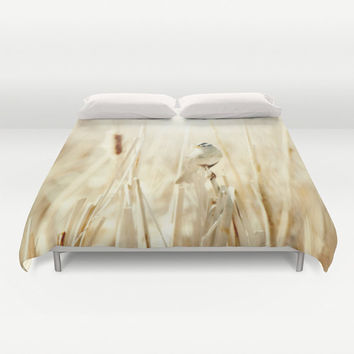 Art Duvet Cover Bright Bird photography home decor photograph Ethereal light photo yellow tan tones nature bedding full queen king bedroom