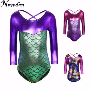 New Toddler Girls Ballet/Skate Gymnastics Leotard/Unitards Matalic Long Sleeve Mermaid Costume Kids Children Dancewear