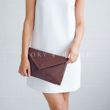 Crocodile Print Leather Look Clutch Bag - Chocolate Brown