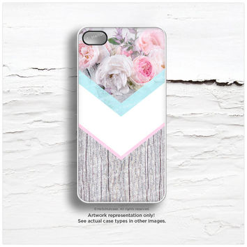 iPhone 6 Case Floral, iPhone 5C Case Wood Print, iPhone 5s Case Chevron, Geometric iPhone 6 Plus Case, Rose Chevron iPhone Cover I169