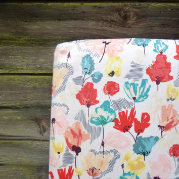 Wildflower Crib Sheet, Girl Baby or Toddler Fitted Crib Sheet, Pink Teal Red Yellow Flower Nursery