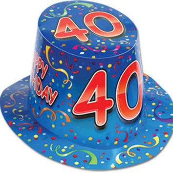happy 40 birthday hi-hat (one size fits most) - style #212 Case of 25
