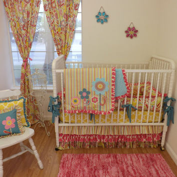 READY TO SHIP--7 pc--Kumari Garden Crib Bedding Set