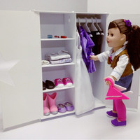 Doll Closet / Wardrobe / Armoire/ Cabinet/ 18 inches/ White Plastic / American Girl / with Hangers