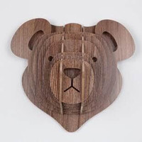 Wooden Bear Head Artwork Wall Hanging For Living Room