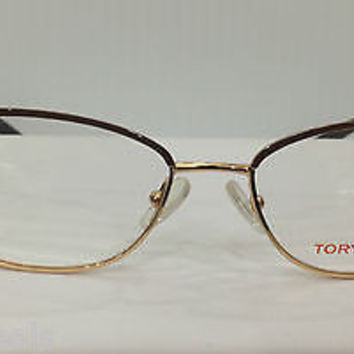 NEW AUTHENTIC TORY BURCH TY 1019 COL 364 BROWN W/GOLD EYEGLASSES FRAME 52-16-135