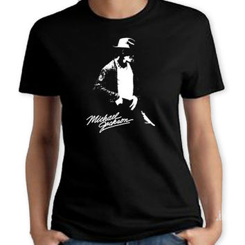 Michael Jackson Dance Women T-Shirt. Hand Screen Printed Tee. Great Quality. Very Soft. Pop Music King Rock Dance Eighties 80s Retro