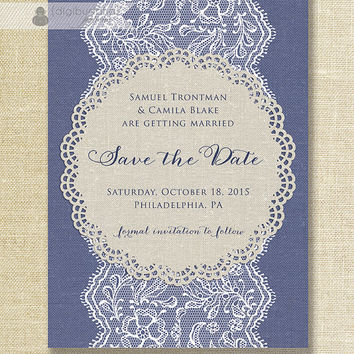 Lace & Linen Save The Date Card Invitation Navy Blue White Beige Shabby Chic Wedding Invite Printable Digital or Printed - Camila Style