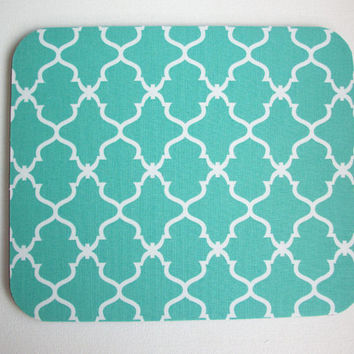 Computer Mouse Pad mousepad / Mat - Round or rectangle - Trellis in aqua blue moroccan - cubicle decor office desk gift
