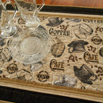 Quilted Table Topper - Vintage Coffee and Tea Themed Table Mat Quilt