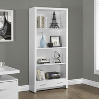 "White Hollow-Core 71""H Bookcase With A Drawer"