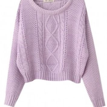 Solid Cable Knit Cropped Sweater