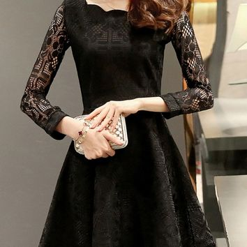 Casual Scallop Hollow Out Plain Lace Skater Dress