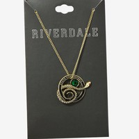 Licensed cool Riverdale Southside Serpents Pendant Necklace Gold Tone Faux Gems Licensed NWT